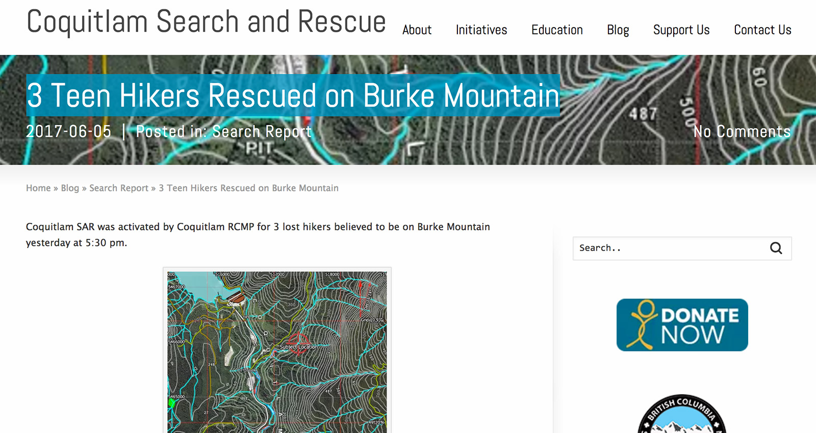 nonprofit blogging example, coquitlam search and rescue uses stories, events, and experience to teach and warn people of dangers