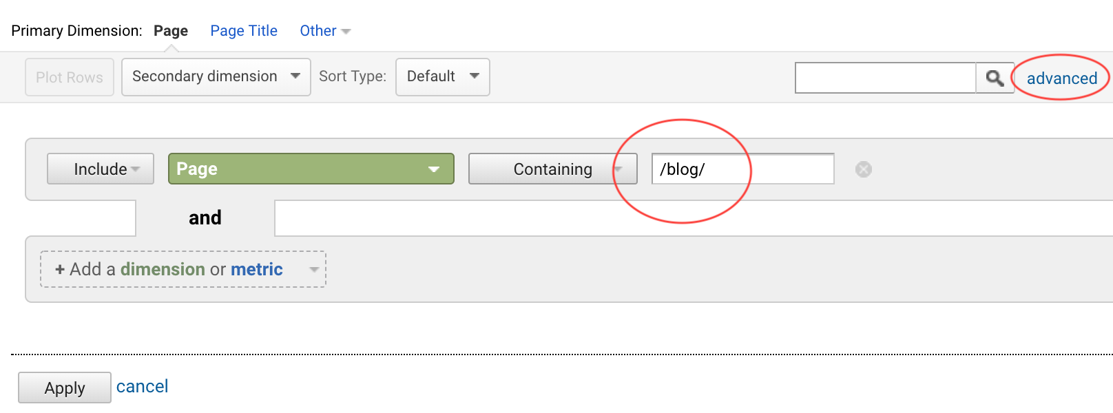 Set advanced filter in Google Analytics for tracking blog visits on WordPress site